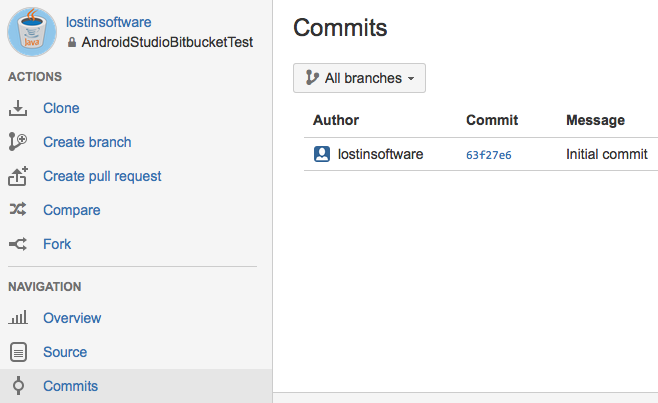 Importing a project into Bitbucket repository from Android